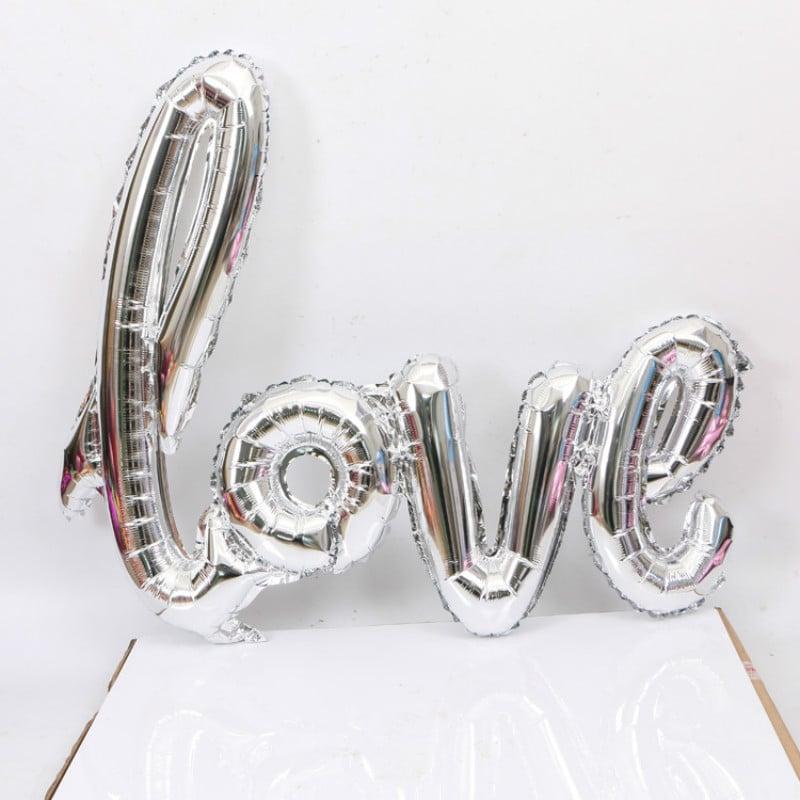 LOVE SCRIPT LETTER FOIL BALLOON 106CM Silver