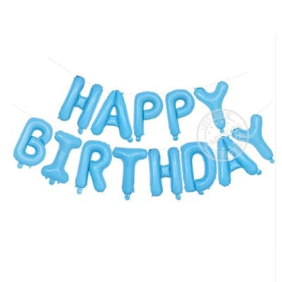happy birthday foil letter balloons baby blue