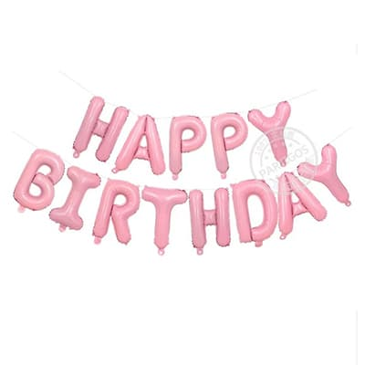 Happy Birthday Foil Letter Balloons Baby Pink