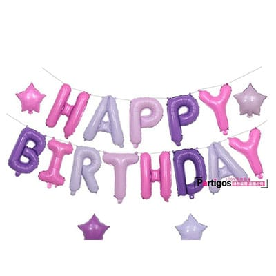 Happy Birthday Foil Letter Balloons Purple