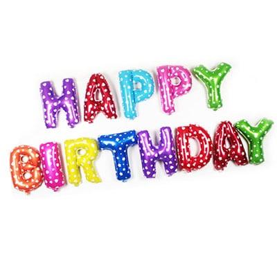 Happy Birthday Foil Letter Balloons Rainbow