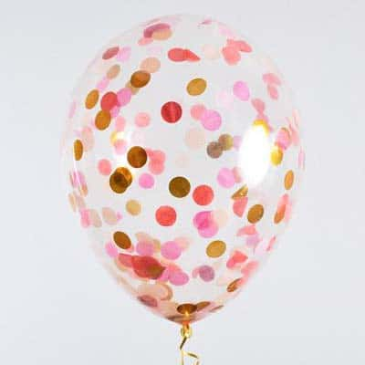 18 Clear Balloon With Gold Red Pink Peach Confetti