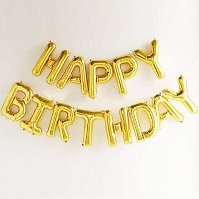 Happy Birthday Foil Letter Balloons Gold