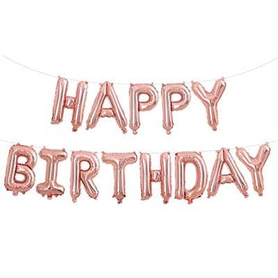 Happy Birthday Foil Letter Balloons Rose Gold