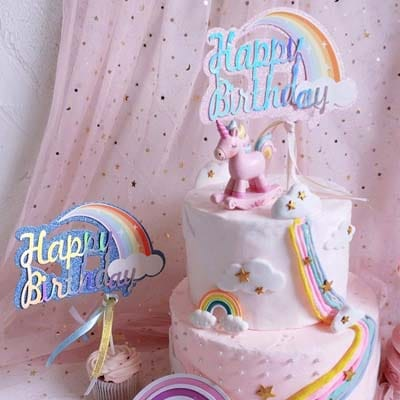 Birthday Cake Topper Rainbow CloudBlue Pink