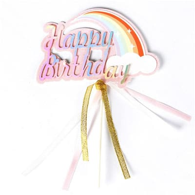 Birthday Cake Topper Pink Rainbow Cloud
