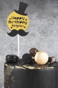 Prime Birthday Cake Topper Black Mustache Black Hat Party Funny Birthday Cards Online Necthendildamsfinfo