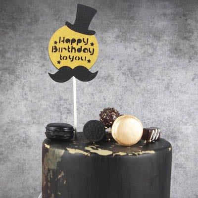 Birthday Cake Topper Black Mustache Hat