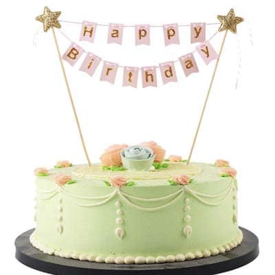 Birthday Cake Topper Pink Mini Happy Bunting Banner
