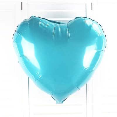 18 Heart Shaped Foil Balloon45cm Pearl Tiffany Blue