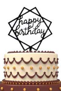 Happy Birthday Cake Topper Square