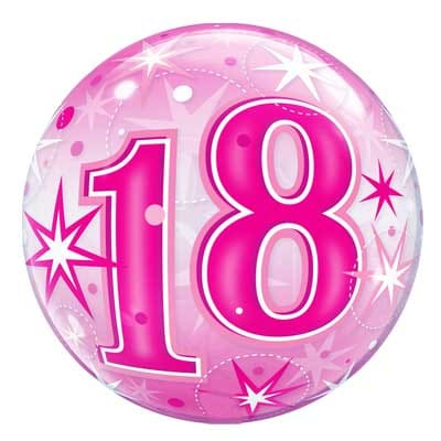 18th Birthday Balloon Pink Starburst Sparkle Bubble 22 56cm