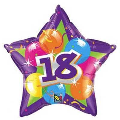 18th Birthday Balloon Sparkling Foil Star 20
