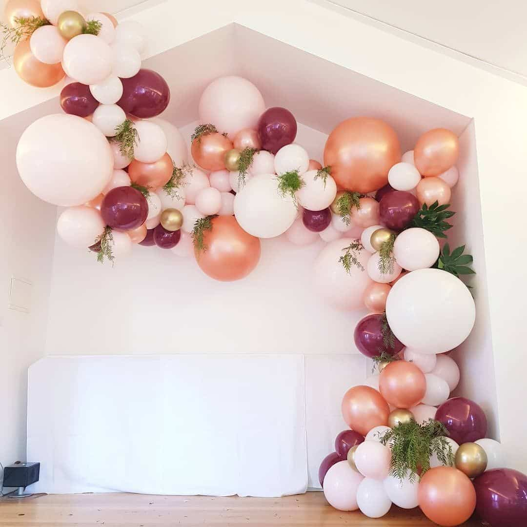DIY Balloon Garlands -- Pearl Rose Gold/White/Maroon ...