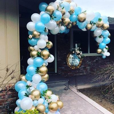 Diy Balloon Garlands Chrome Gold Blue White