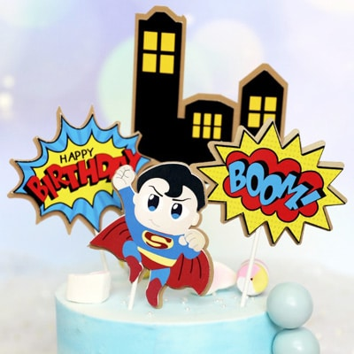 Outstanding Birthday Cake Topper Superhero 4Pcs Party Decorations Party Funny Birthday Cards Online Necthendildamsfinfo